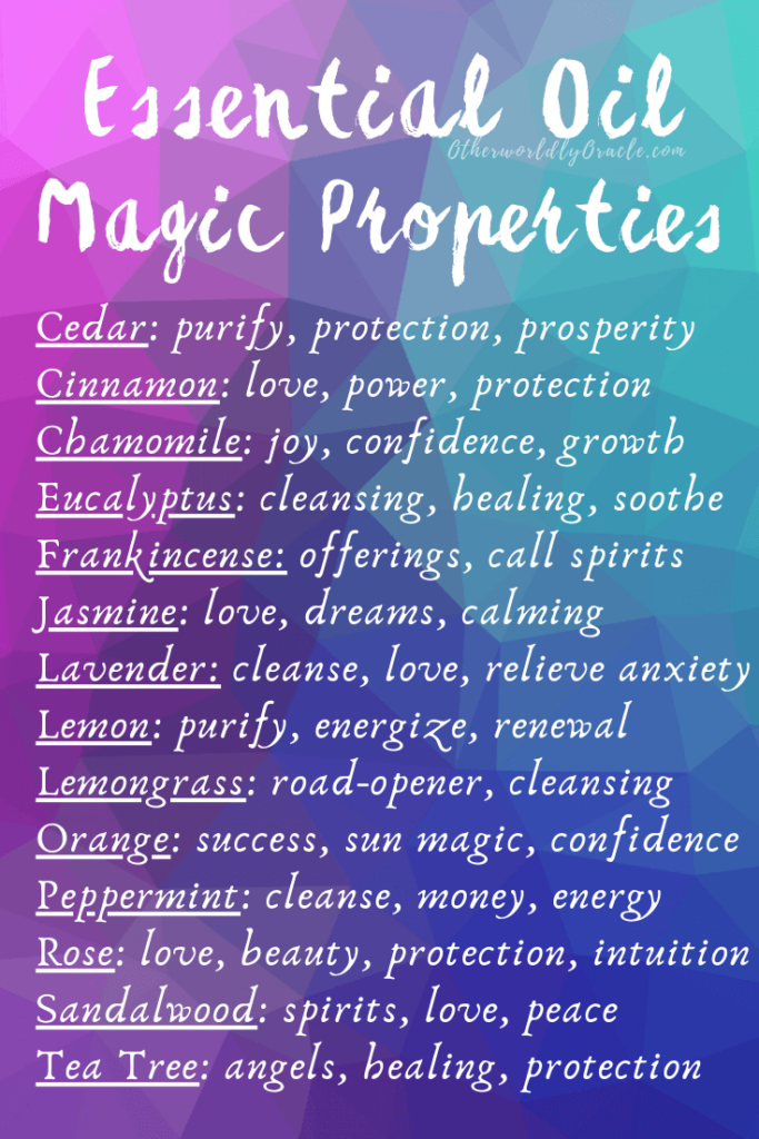 Essential Oil Magical Properties Chart And Magical Uses